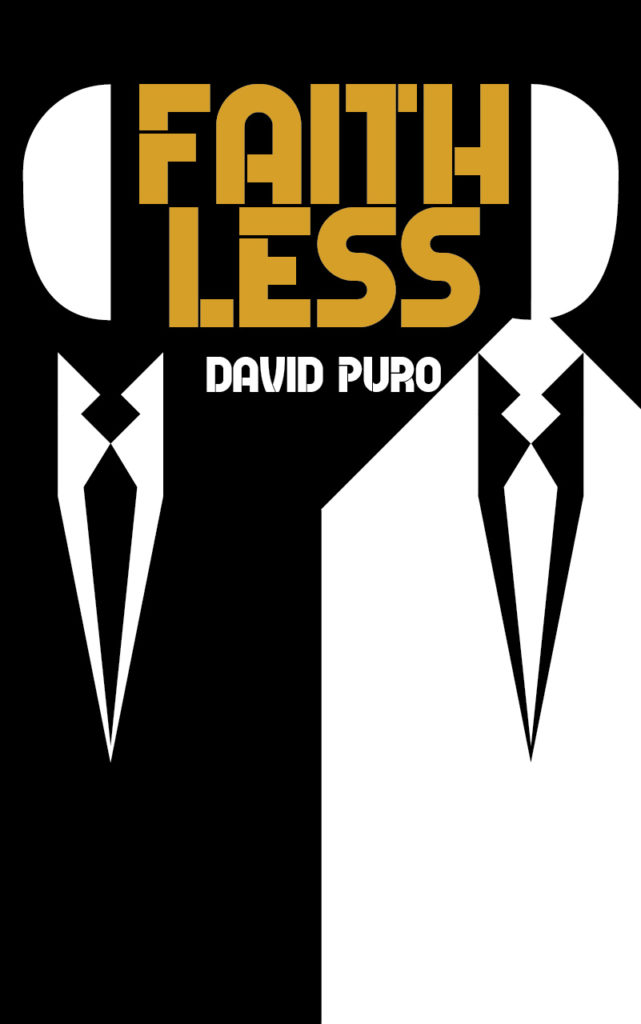 Black and white book cover for Faithless, depicting two abstract people in suits